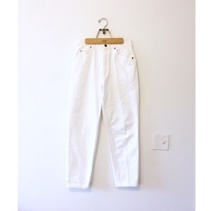 Vtg 90s Minimalist White Denim High Waist Jeans 28
